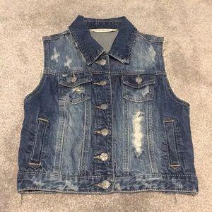 Distressed destroyed 100% cotton denim vest